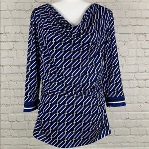 New York & Company Blue White Top Size Large